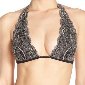 Free People Lace Halter Bralette, Size Small